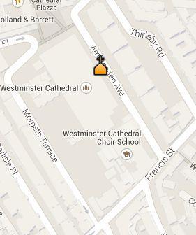 Situación de la Catedral de Westminster en el Mapa de Londres