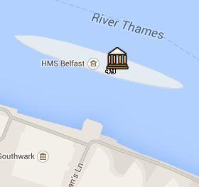 Situación del HMS Belfast en el Mapa de Londres