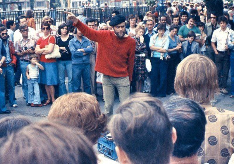 Speaker's Corner en 1974. Wikimedia Commons, autor George Louis