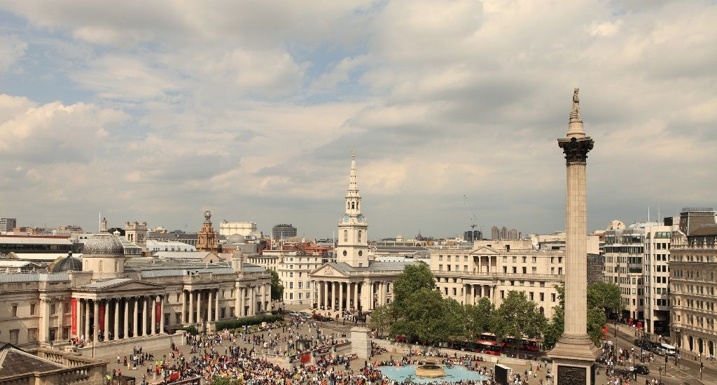 Trafalgar Square, National Gallery y St Martin-in-the-Fields