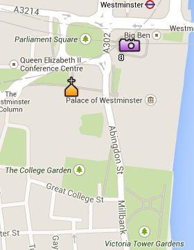Situación del Parlamento en el Mapa de Londres