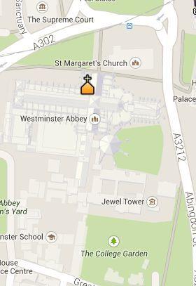 Situación de la Abadía de Westminster en el Mapa de Londres