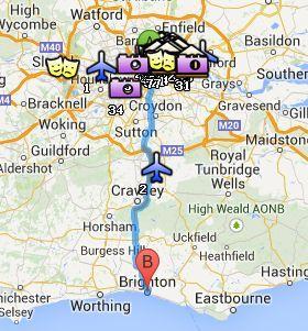 Situación de Brighton respecto a Londres