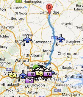 Situación de Cambridge respecto a Londres