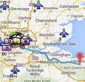 Situación de Canterbury respecto a Londres
