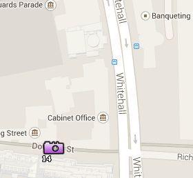 Situación de Downing Street en el Mapa de Londres