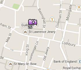 Situación del Guildhall en el Mapa de Londres