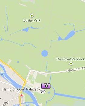 Situación del Hampton Court en el Mapa de Londres