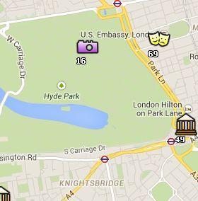 Situación de Hyde Park en el Mapa de Londres