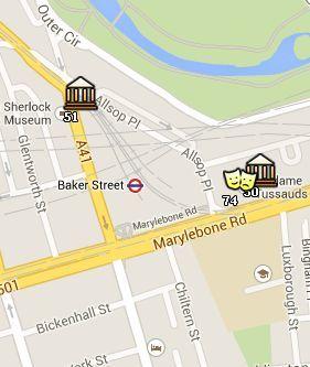 Situación del Madame Tussauds en el Mapa de Londres