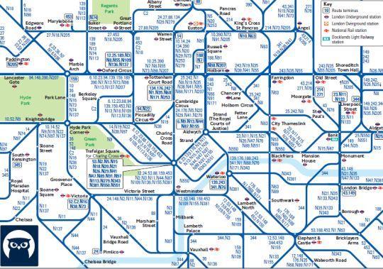 Red de autobuses nocturnos de Londres