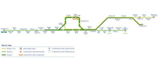 Mapa de la red de Tranvías de Londres