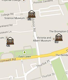 Situación del Science Museum en el Mapa de Londres