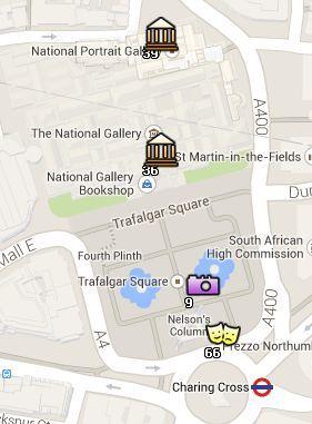Situación de la National Gallery en el Mapa de Londres