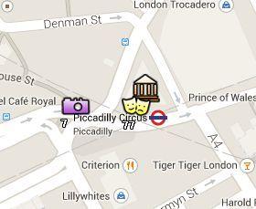 Situación de Piccadilly Circus en el Mapa de Londres