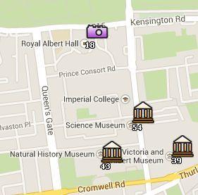 Situación del Royal Albert Hall en el Mapa de Londres
