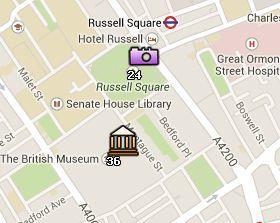 Situación de Russell Square en el Mapa de Londres