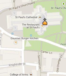 Situación de la Catedral de San Pablo en el Mapa de Londres