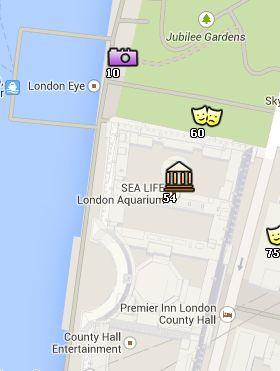 Situación del Sea Life London Aquarium en el Mapa de Londres