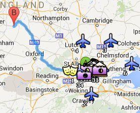 Situación de Stratford-upon-Avon respecto a Londres