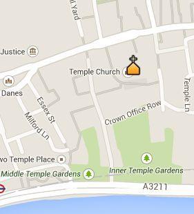 Situación de la Temple Church en el Mapa de Londres
