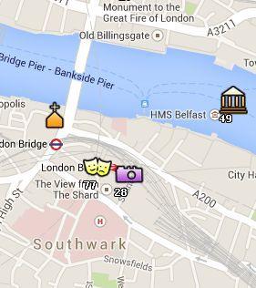 Situación de The Shard en el Mapa de Londres