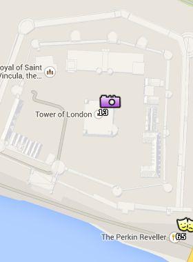 Situación de la Torre de Londres en el Mapa de Londres
