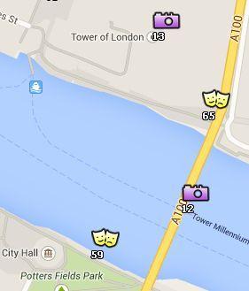 Situación del Tower Bridge en el Mapa de Londres