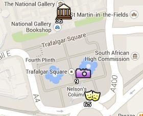 Situación de Trafalgar Square en el Mapa de Londres