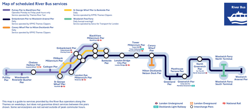 Mapa de líneas del River Bus